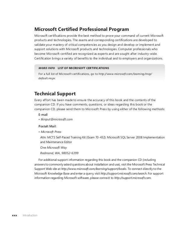 Mcts Self Paced Training Kit Exam 432 Sql Server 2008 Implementat
