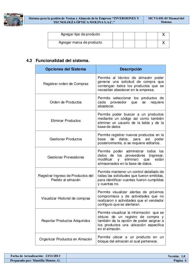 Mcvs de 03 manual del sistema for Manual de procedimientos de una empresa de alimentos