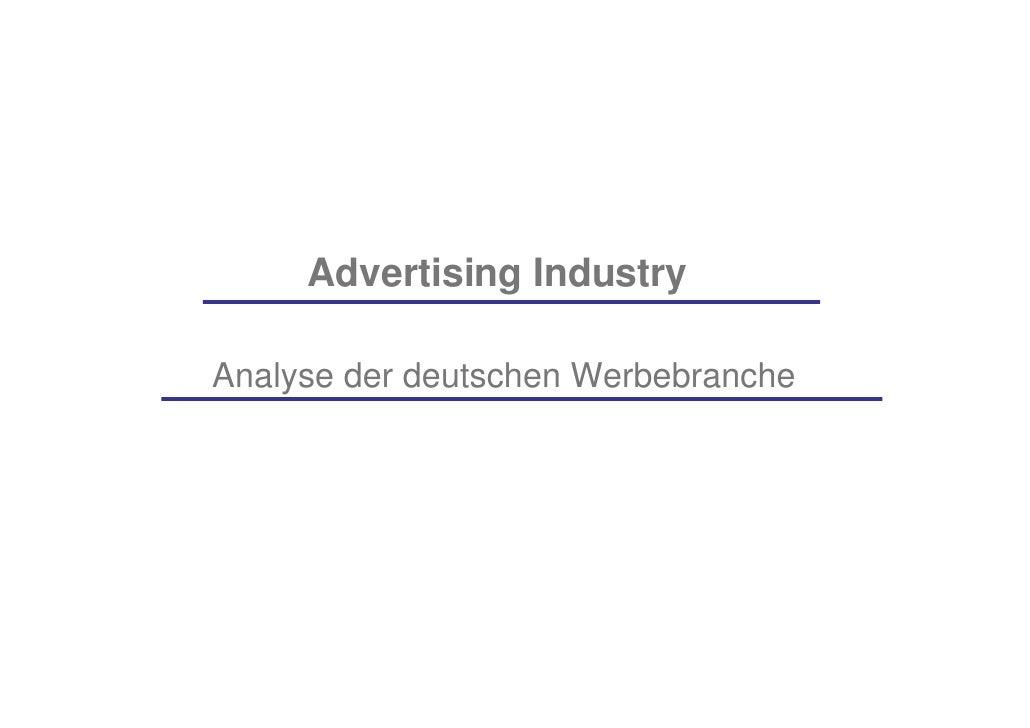 Advertising Industry  Analyse der deutschen Werbebranche