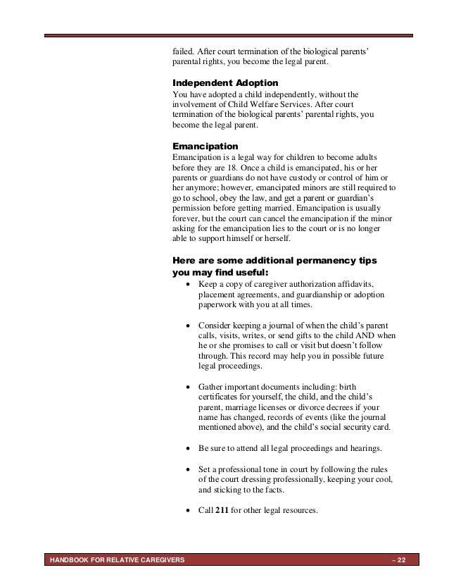 Handbook for Grandparents Raising Grandchildren