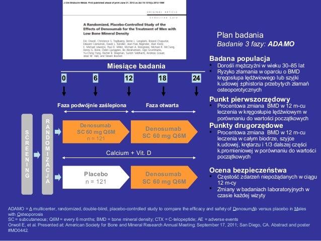 Plan badania Badanie 3 fazy: ADAMO ADAMO = A multicenter, randomized, double-blind, placebo-controlled study to compare th...