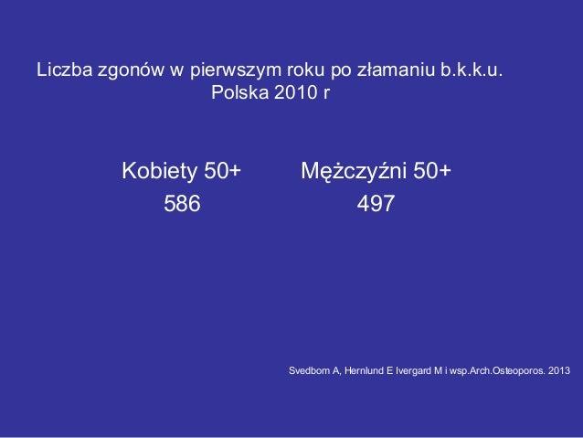 Kobiety 50+ Mężczyźni 50+ 586 497 Liczba zgonów w pierwszym roku po złamaniu b.k.k.u. Polska 2010 r Svedbom A, Hernlund E ...