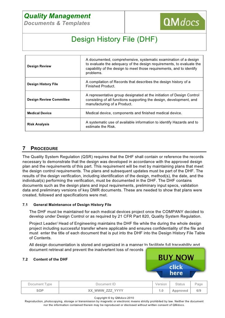 design review document template - md 002 design history file dhf sop 2 0