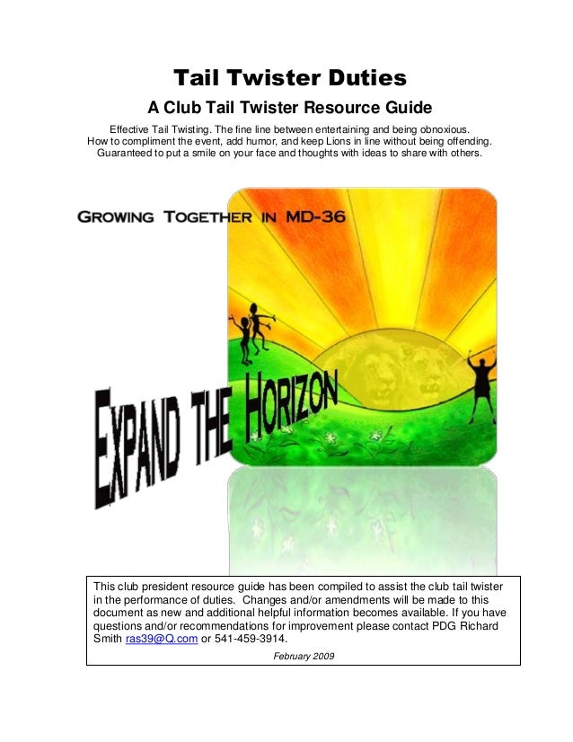 Tail Twister Duties A Club Tail Twister Resource Guide Effective Tail Twisting. The fine line between entertaining and bei...