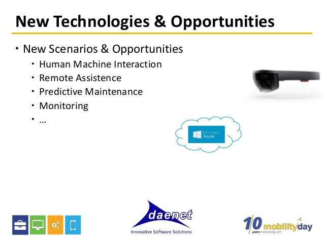 New Technologies & Opportunities  New Scenarios & Opportunities  Human Machine Interaction  Remote Assistence  Predict...