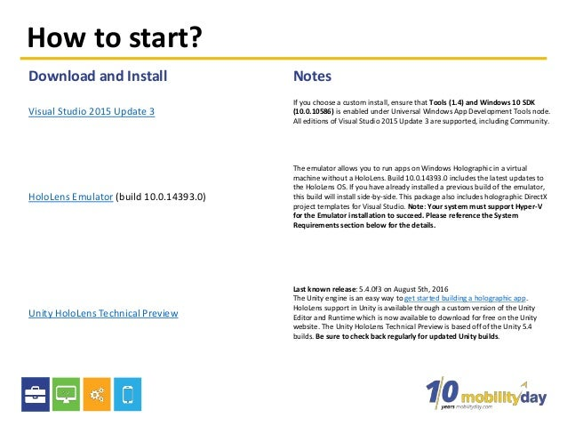 How to start? Download and Install Notes Visual Studio 2015 Update 3 If you choose a custom install, ensure that Tools (1....