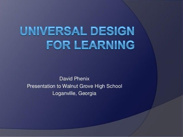 David Phenix Presentation to Walnut Grove High School Loganville, Georgia