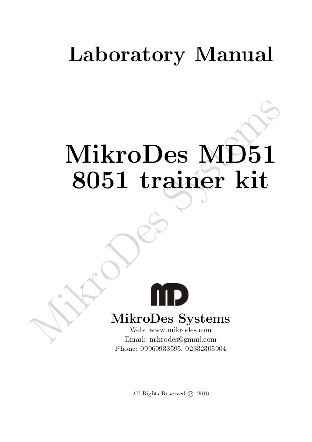 Laboratory Manual                                         s                                        m    MikroDes MD51     ...