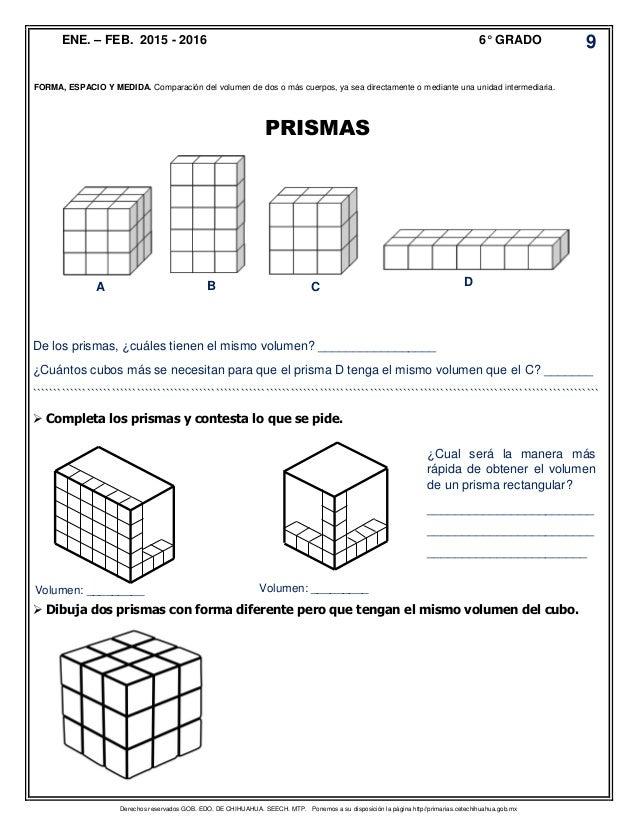 Atractivo Volumen De Prisma Rectangular De Hoja De 6º Grado Cresta ...