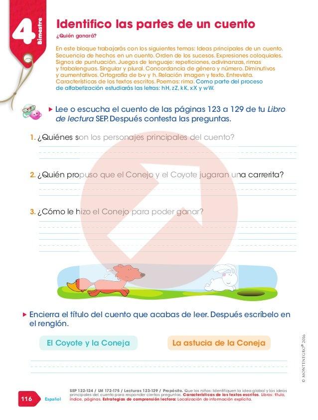 2016 116 Español 4Bimestre Identifico las partes de un cuento ¿Quién ganará? SEP 122-124 / LM 172-175 / Lecturas 123-129 /...