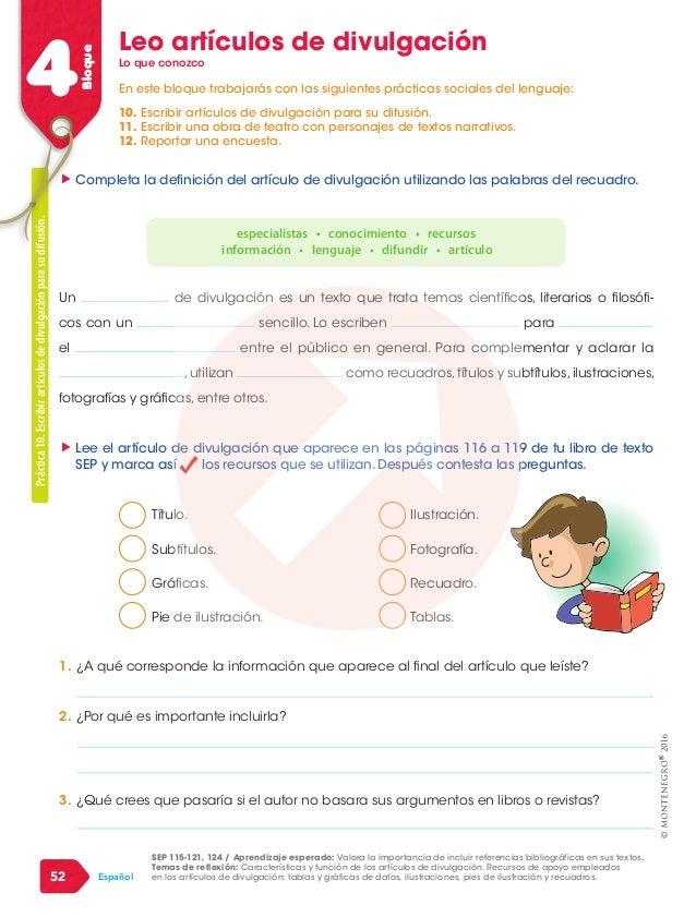 """4Bloque 52 Español Leo artículos de divulgación """""""" Lee el artículo de divulgación que aparece en las páginas 116 a 119 de ..."""