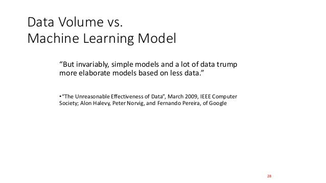 """Data Volume vs. Machine Learning Model """"But invariably, simple models and a lot of data trump more elaborate models based ..."""