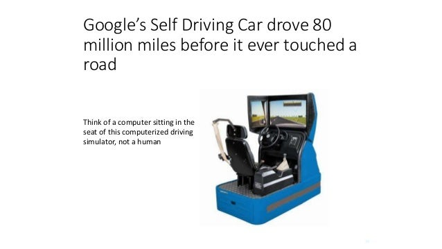 29 Google's Self Driving Car drove 80 million miles before it ever touched a road Think of a computer sitting in the seat ...