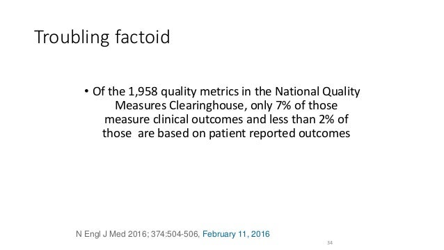 Troubling factoid • Of the 1,958 quality metrics in the National Quality Measures Clearinghouse, only 7% of those measure ...