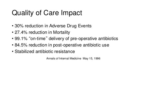"""• 30% reduction in Adverse Drug Events • 27.4% reduction in Mortality • 99.1% """"on-time"""" delivery of pre-operative antibiot..."""
