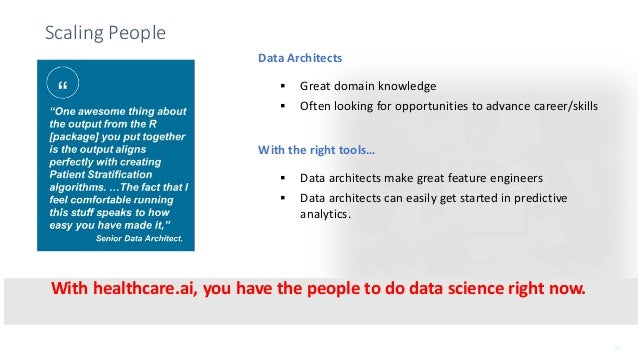 New Generation Product Briefing Scaling People Data Architects  Great domain knowledge  Often looking for opportunities ...