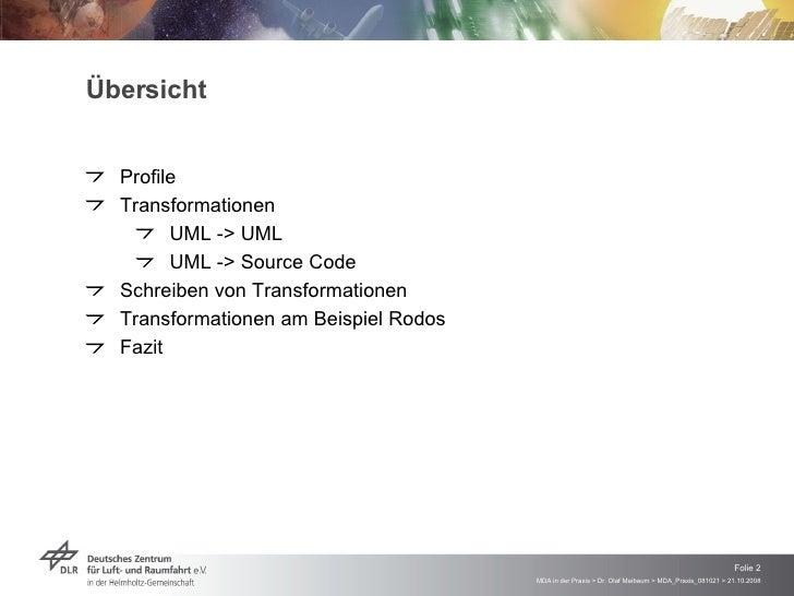 MDA in der Praxis - Modelltransformation und Code-Generierung mit dem Enterprise Architect Slide 2