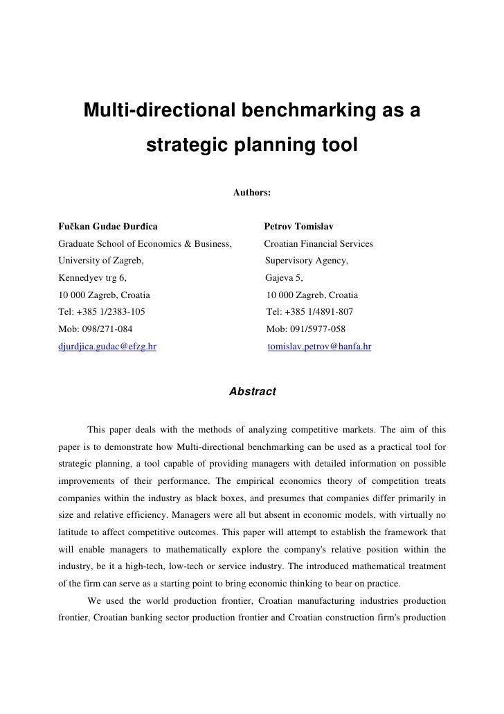 Multi-directional benchmarking as a                         strategic planning tool                                       ...