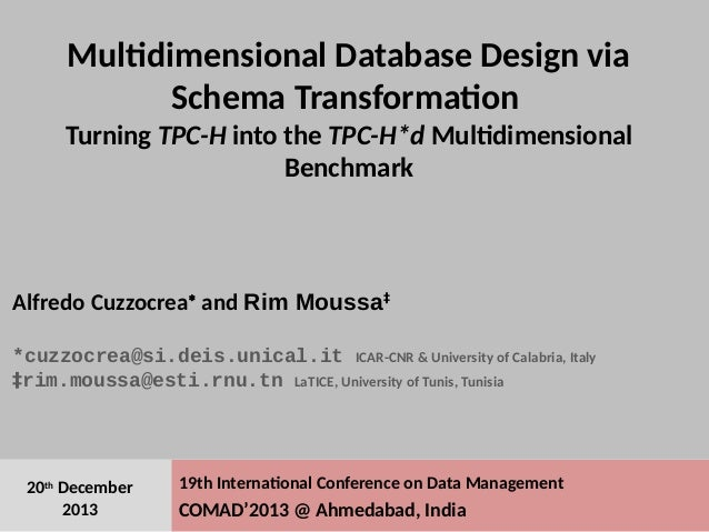 # 1 19th International Conference on Data Management COMAD'2013 @ Ahmedabad, India 20th December 2013 Multidimensional Dat...
