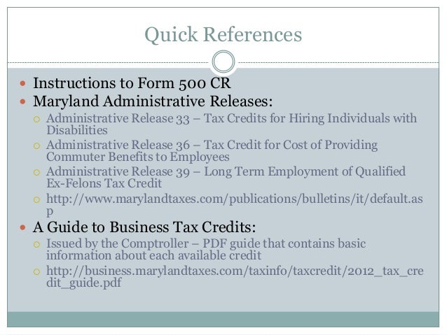Md Business Tax Credits Sld 112612