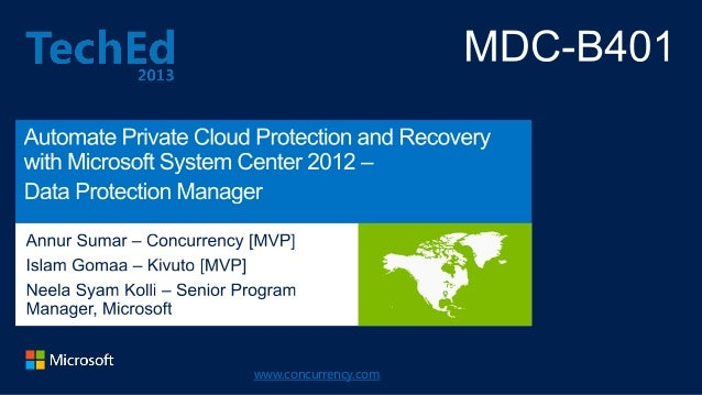TechEd 2013 Presentation: Automate Private Cloud Protection and Recovery Slide 2
