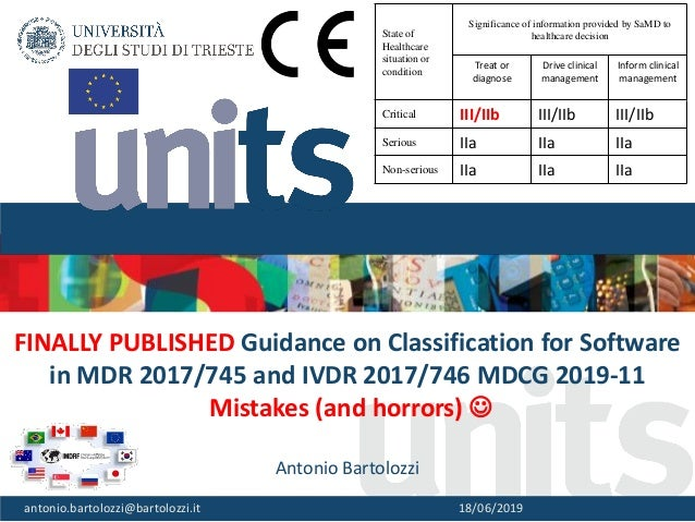 1 FINALLY PUBLISHED Guidance on Classification for Software in MDR 2017/745 and IVDR 2017/746 MDCG 2019-11 Mistakes (and h...