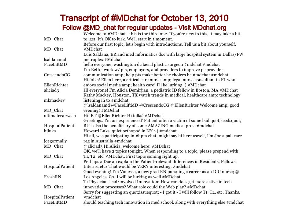 Transcript of #MDchat for October 13, 2010           Follow @MD_chat for regular updates - Visit MDchat.org               ...