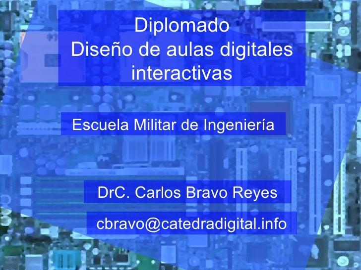 Diplomado Diseño de aulas digitales interactivas Escuela Militar de Ingeniería DrC. Carlos Bravo Reyes [email_address]