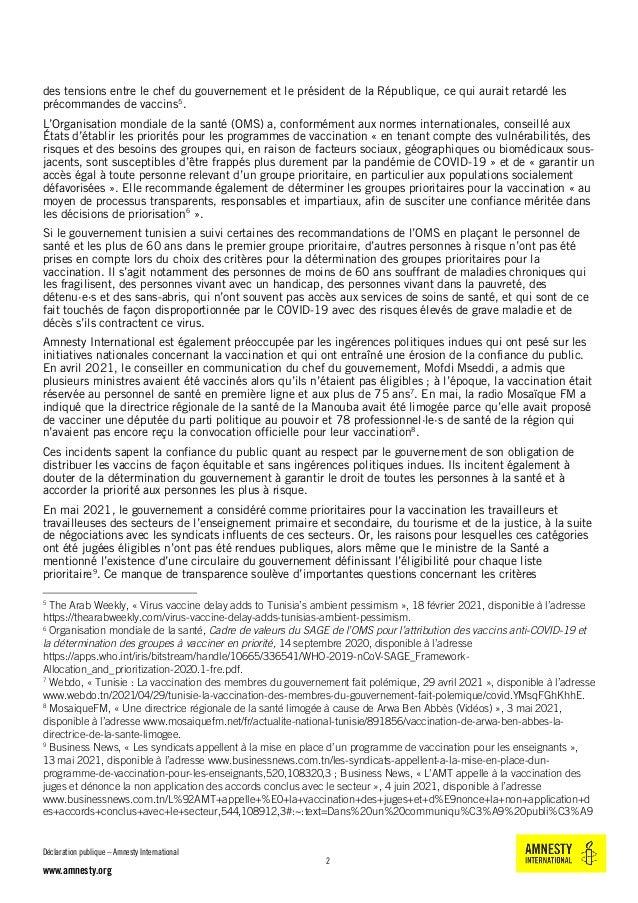 Tunisie : Le plan de vaccination contre le covid-19 doit être équitable et transparent Slide 2