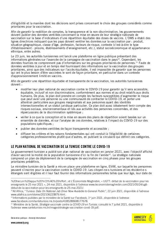 Tunisie : Le plan de vaccination contre le covid-19 doit être équitable et transparent Slide 3