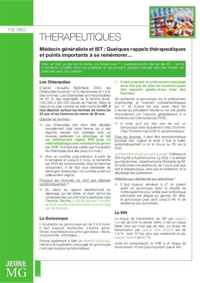 JEUNE  MG  12  VIE PRO  THERAPEUTIQUES  Médecin généraliste et IST : Quelques rappels thérapeutiques  et points importants...