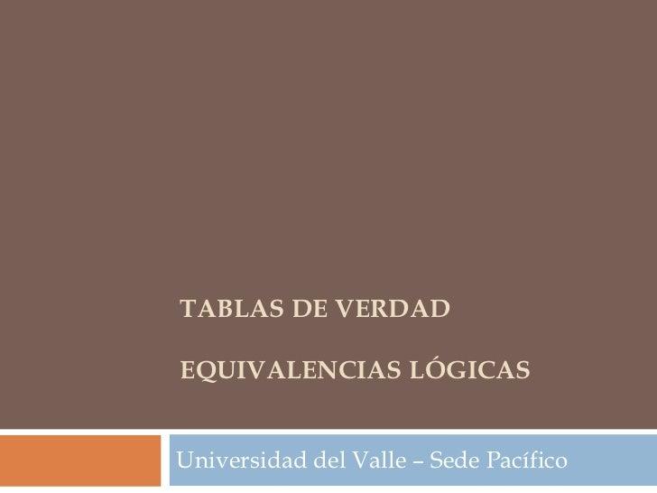 TABLAS DE VERDADEQUIVALENCIAS LÓGICASUniversidad del Valle – Sede Pacífico