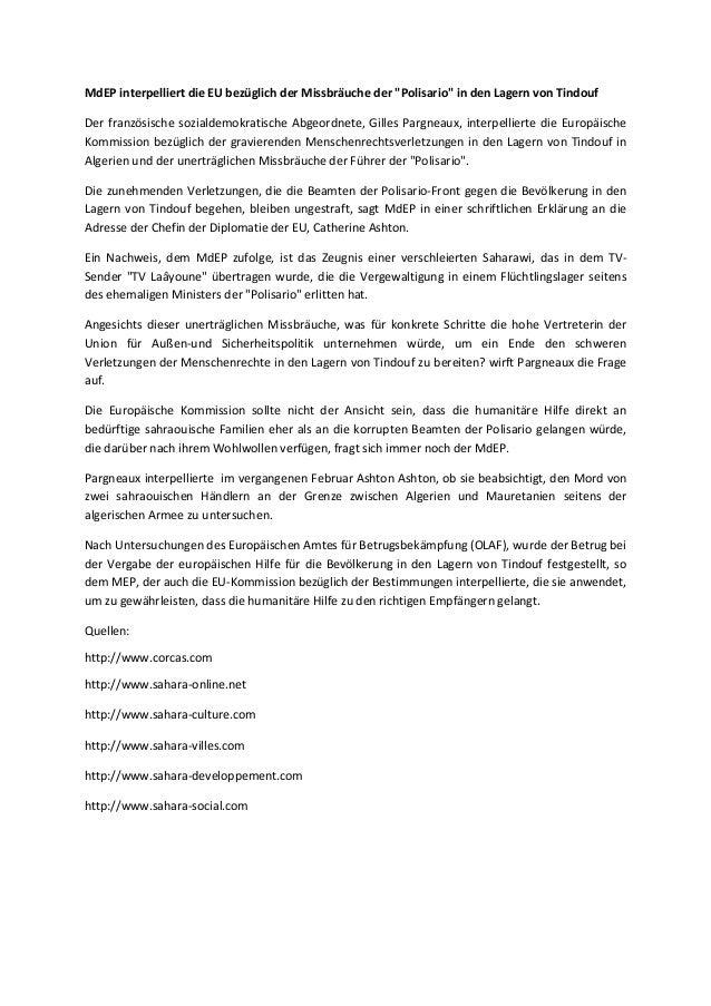 """MdEP interpelliert die EU bezüglich der Missbräuche der """"Polisario"""" in den Lagern von Tindouf Der französische sozialdemok..."""