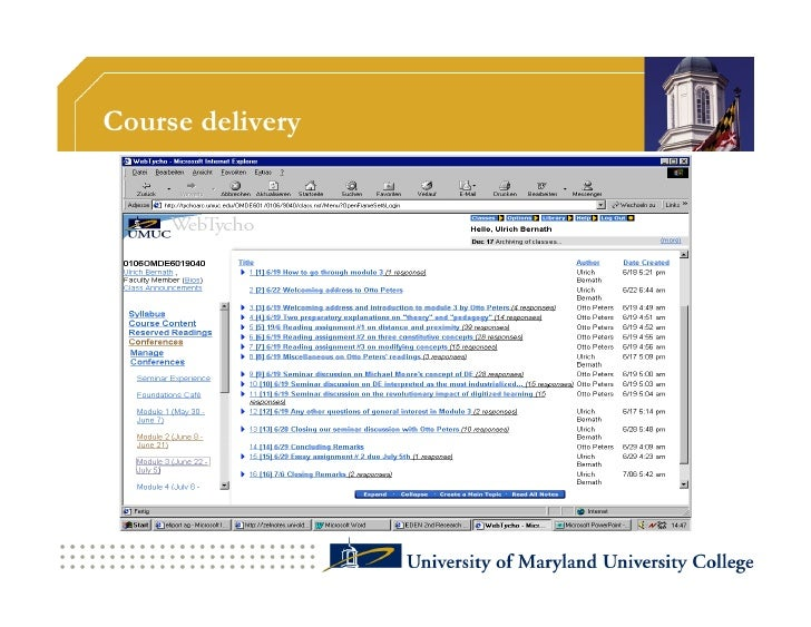 Course delivery                   UMUC is the responsible partner for all of               course delivery functions:     ...