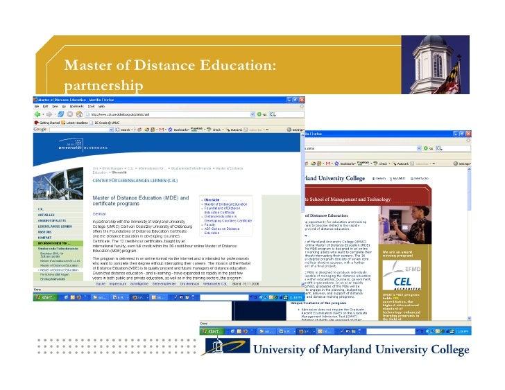 Master of Distance Education: partnership