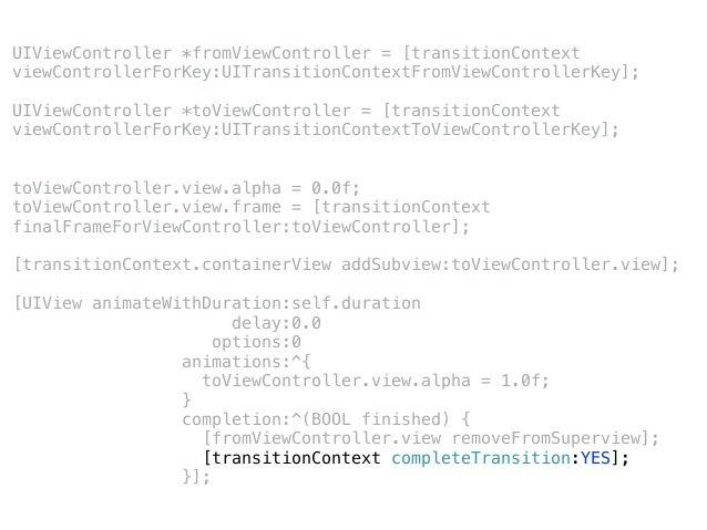 Custom Non-Fullscreen Non-interactive Transitions