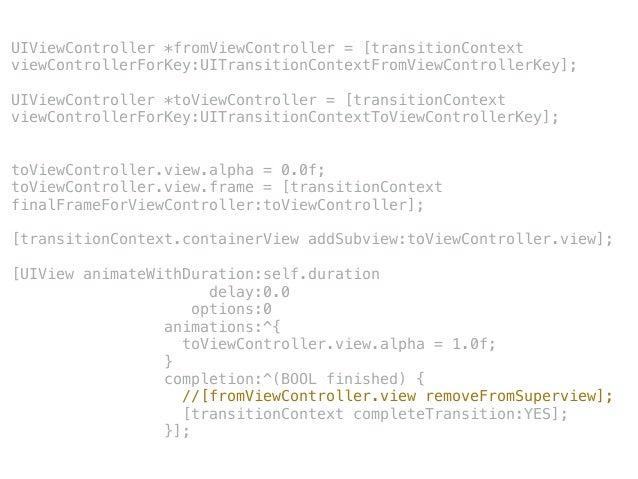 TestViewController *viewController = [TestViewController new]; ! viewController.modalPresentationStyle = UIModalPresentati...