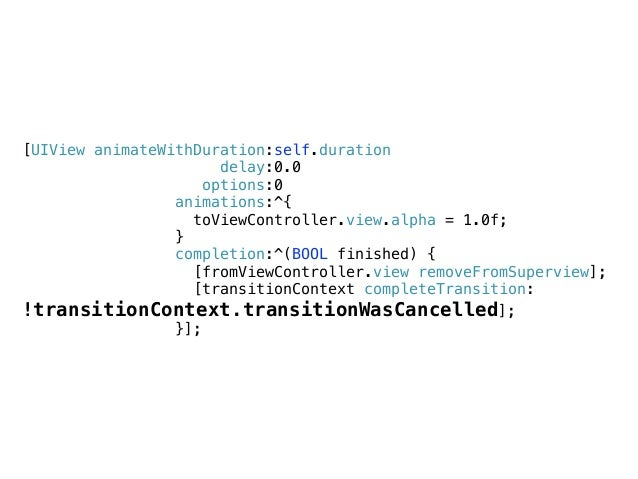 id <UIViewControllerInteractiveTransitioning> - (void)updateInteractiveTransition:(CGFloat)percentComplete { _toViewContro...