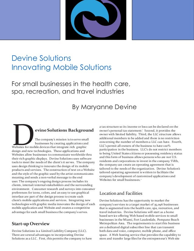 Devine Solutions Background The company's mission is to serve small businesses by creating applications and Websites for m...