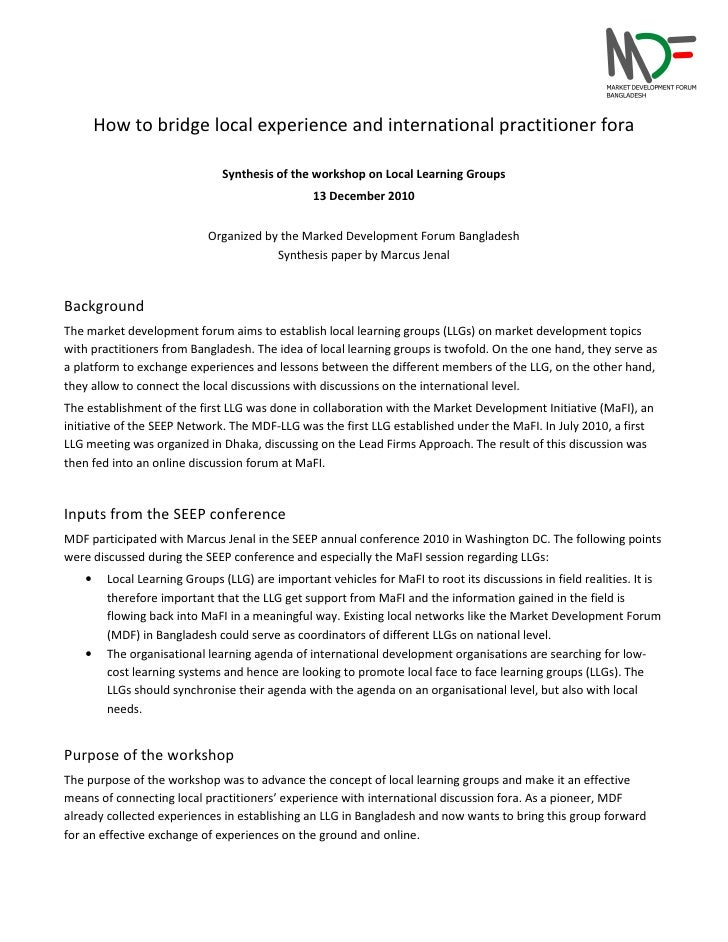 How to bridge local experience and international practitioner fora                               Synthesis of the workshop...