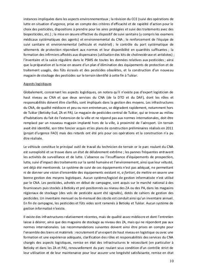 10 instances impliquées dans les aspects environnementaux ; la révision du CCE (suivi des opérations de lutte en situation...
