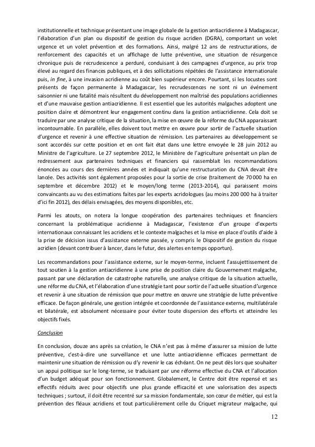 12 institutionnelle et technique présentant une image globale de la gestion antiacridienne à Madagascar, l'élaboration d'u...