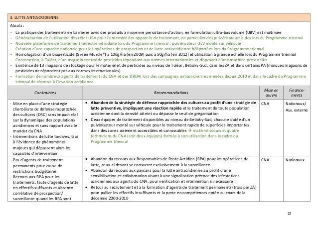22 3. LUTTE ANTIACRIDIENNE Atouts : - La pratique des traitements en barrières avec des produits à moyenne persistance d'a...