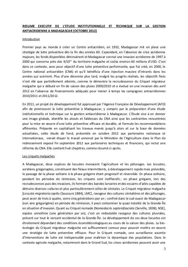 3 RESUME EXECUTIF DE L'ETUDE INSTITUTIONNELLE ET TECHNIQUE SUR LA GESTION ANTIACRIDIENNE A MADAGASCAR (OCTOBRE 2012) Intro...