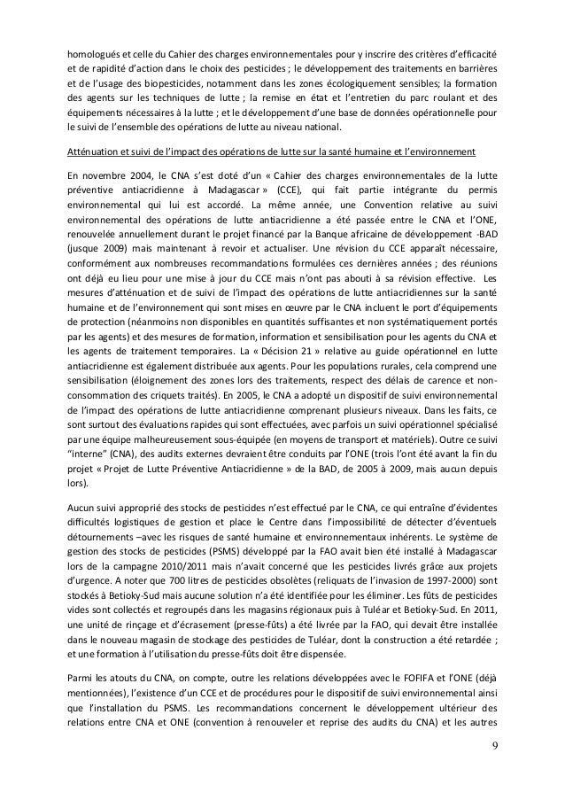 9 homologués et celle du Cahier des charges environnementales pour y inscrire des critères d'efficacité et de rapidité d'a...