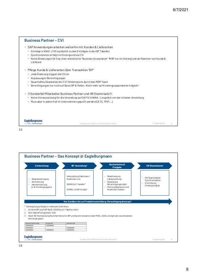6/7/2021 8 © EagleBurgmann 15 EagleBurgmann | MDG Summit 2021 | Alexander Schmid • SAP Anwendungen arbeiten weiterhin mit ...