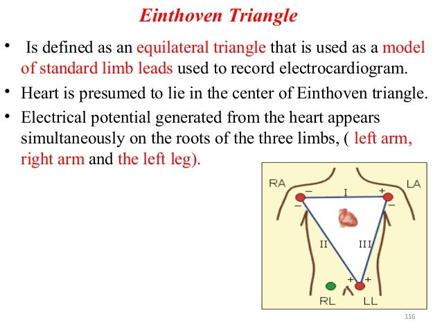 Einthoven Triangle • Is defined as an equilateral triangle that is used as a model of standard limb leads used to record e...