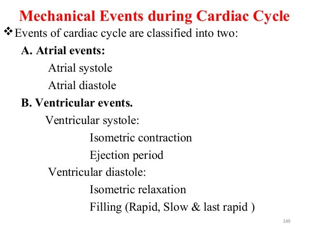 Mechanical Events during Cardiac Cycle Events of cardiac cycle are classified into two: A. Atrial events: Atrial systole ...
