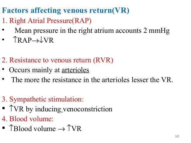 Factors affecting venous return(VR) 1. Right Atrial Pressure(RAP) • Mean pressure in the right atrium accounts 2 mmHg • ↑R...