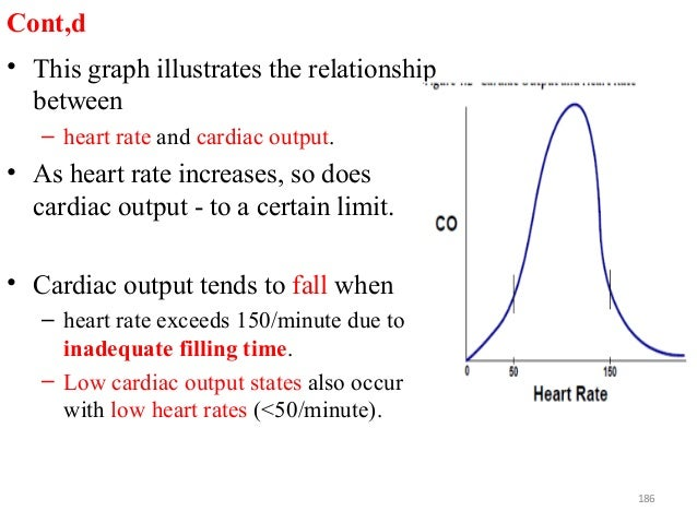 Cont,d • This graph illustrates the relationship between – heart rate and cardiac output. • As heart rate increases, so do...